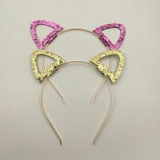 Glitter cat ear headband - choice of gold or pink glitter