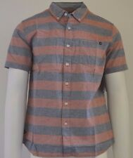 New Rip Curl Standard Fit Red Stripped Woven S/S Button Shirt
