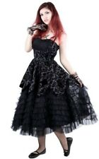 Hell Bunny Goth Gothic Lavintage Black Lace Ball Gown Prom Formal Dress