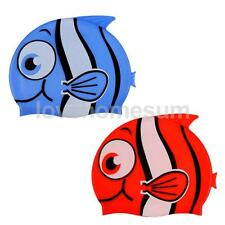 Cute Cartoon Fish Flexible Silicone Swim Cap Swimming Hat for Kids Boys Girls