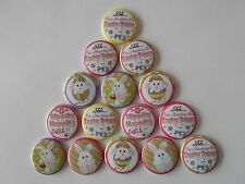 """15 ct 1"""" Easter Hunting Bunnies Rabbits Buttons Pinbacks Flatback hairbow"""