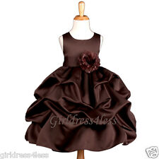 BROWN CHOCOLATE PICK UP WEDDING FLOWER GIRL DRESS 6M 12M 18M 2/2T 4/4T 6 8 10 12