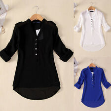 Plus Size Women V Neck Long Sleeve Tops Casual Loose T Shirt Blouse Tee