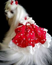 DOG DRESS /HARNESS  RED BANDANA /WHITE EYLET WITH D RING  NEW   FREE SHIPPING
