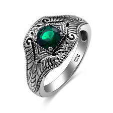 Emerald Rings 925 Sterling Silver Vintage Handmade Gemstone ring Fine Jewelry