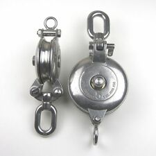 "Stainless Steel T316 Snatch Block With Swivel Eye - 4"" Sheave Rigging Block"