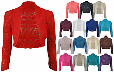 Ladies Long Sleeve Crochet Bolero Shrug Cropped Knitted Cardigan Tops USA 4/22