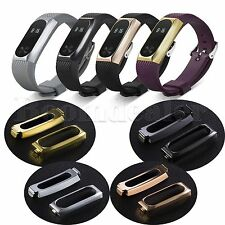 Luxury Stainless Steel Case Cover Silicone Watch Band Strap for Xiaomi Mi Band 2