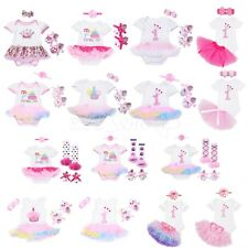 Newborn Baby Girls 1st Birthday TuTu Skirt Dress Romper Bodysuit Clothes Outfit