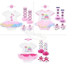 3pcs Newborn Infant Baby Girl Headband Romper Shoes Dress Outfit Clothes 0-24M