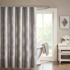 "Luxury Grey Woven Zig Zag Textured Fabric Shower Curtain - 72"" x 72"""