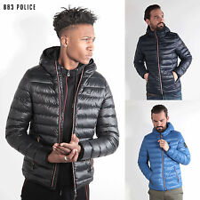 Mens 883 Police Quilted Padded Down Feather Puffer Designer Bomber Hooded Jacket