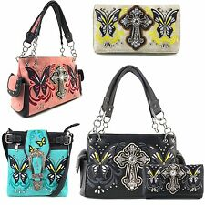 Justin West Spring Butterfly Western Cross Conceal Carry Handbag Purse Wallet