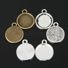 Handmade DIY Alloy Round Cover Flat Pendants Cabochon Settings Size 12mm 3 Color
