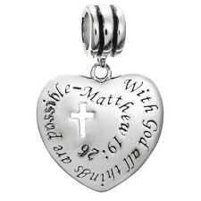 Sterling Silver With God All Things are Possible  for European Charm Bracelets