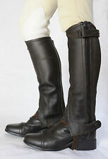 Just Chaps Adult Classic Leather Riding Half Chaps - Black & Brown - All sizes