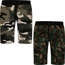Mens Regular Fit Army Style Camouflage Cotton Fleece Jersey Above Knee Shorts