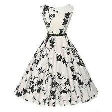Womens 1950s Swing Flared Dress Vintage Cocktail Evening Party Pinup Dress