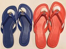 Tory Burch Pearce Thong Leather Jelly Blue/Poppy Red Sandal/Shoes Flip Flops