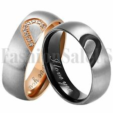 6mm Stainless Steel Heart Couples Promise Engagement Ring Wedding Band Size 5-13