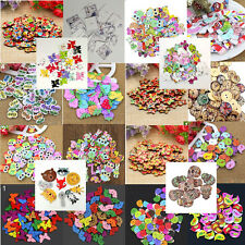 50x Mixed Animal Hearts 2 Holes Wooden Buttons Sewing Craft Scrapbooking DIY Lux