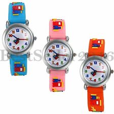 Cute Jelly Gel Silicone Watches Cartoon 3D Boys Girls Kids Quartz Wrist Watch