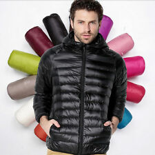 Mens Winter Down Jacket Hooded Ultra Light Down Coats Thin Slim Parkas Plus Size