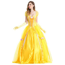 Adult Deluxe Disney Belle Costume Beauty The Beast Movie Fancy Dress Ball Gown