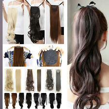 Drawstring Binding Tie Up Ponytail Hair Extensions Natural Soft Long as Human A3