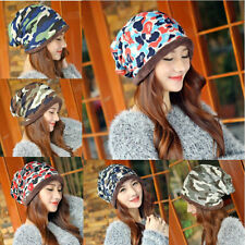 Women Girls Camo Knit Winter Warm Hat Braided Baggy Beret Beanie Cap Hat 182