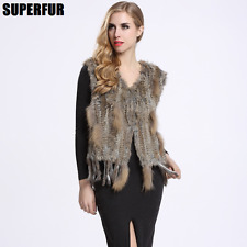 100% Real Knitted Rabbit Fur Tassel Vest Raccoon Fur Decoration Waistcoat V0003