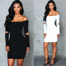 Women's Bodycon Bandage Long Sleeve Stretch Cocktail Party Evening Mini Dress g4