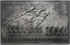 MEDAL GERMANY CAST IRON PLAQUE  THIRD REICH  CONNECTION FROM AUSTRIA 1938 # 0016
