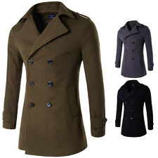 Fashion Men's Double breasted Wool Coat Winter Outwear Overcoat Long Jacket