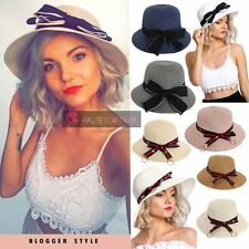 WOMENS NEW BLOGGER STYLE BOW RINGED RIBBON STRAW FLOPPY BUCKET HATS