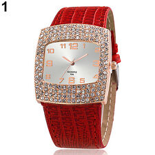 Women's Luxury Rhinestones Faux Leather Band Square Analog Wrist Watch Healthy