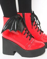 Iron Fist Bat Wing Boots Red Patent Ash Costello Bat Royalty Gothic Goth Vampire