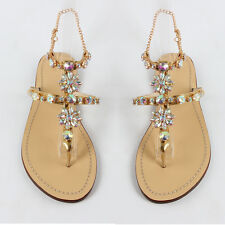 New Hot Womens Summer Bench Party Thong Shoes Rhinestone Gold Flat Heel Sandals