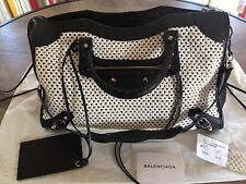 Authentic Balenciaga  Weaving Classic City In White Black