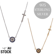 925 STERLING SILVER , EVIL EYE/MATI/NAZAR AND CROSS NECKLACE WITH CUBIC ZIRCONIA