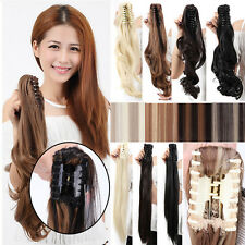 Mega Thick High Ponytail Claw Clip In Pony Tail Hair Extension Brown Mixed A4EW