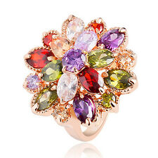 Women Gold Plated Ring Cubic Zirconia Crystal Flower Statement Ring Gift Healthy