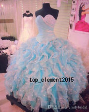 Beading Strapless Quinceanera Dresses Ruffled Formal Prom Party Ball Gowns Plus