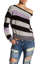 NWT Free People Candyland Pullover Striped Sweater  Black Combo XS Small $98