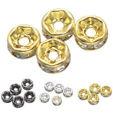 50/40pcs Czech Crystal Rhinestone Pave Rondelle Spacer Beads Fit European Charms
