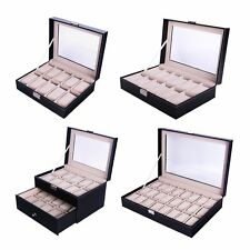 10 12 20 Slots Wood&Leather Watch Box Display Glass Top Jewelry Case Organizer V