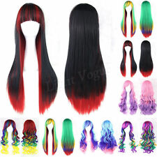 Fashion Women's Lady Straight Wavy Mixed  Hair  Long Cosplay Party Full Wig New