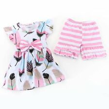 Girl's Boutique Spring Summer Pastel Feather Print Top with Pink Striped Shorts