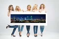 Wall Art Canvas Print Dallas Night Cityscape Panoramic View-Unframed