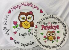 Baby Plate Hand Painted Personalised Owl design boy or girl Birth or Christening